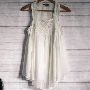 Gracia Ivory Lace & Sheer Flowy Sleeveless Blouse